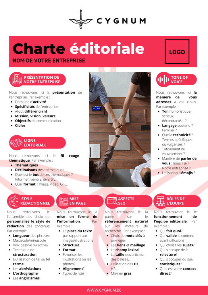 template de charte éditoriale pour le web et les réseaux sociaux fourni par CYGNUM