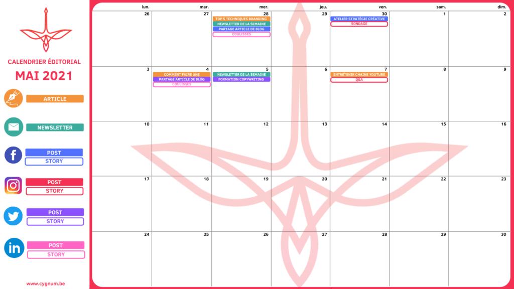 template de calendrier éditorial avec Canva.com à télécharger gratuitement édité par CYGNUM