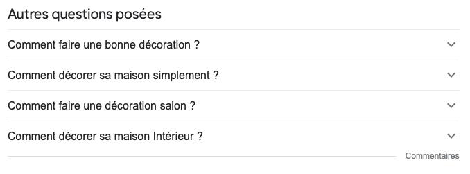 Exemples des questions proposées par Google (astuce copywriting web)