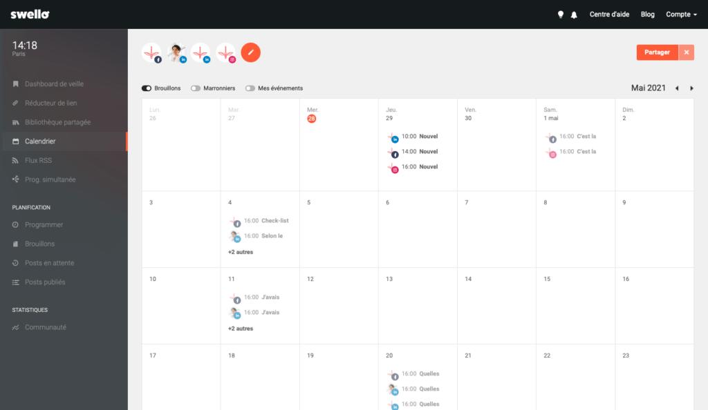 Swello : gestion réseaux sociaux. Découvrez le tableau comparatif de CYGNUM des différents outils pour planifier ses posts réseaux sociaux
