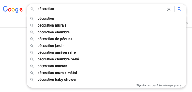 Exemples des suggestions de Google (rédaction web)