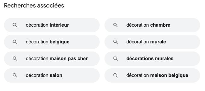 Exemples des recherches associées de Google (copywriting)